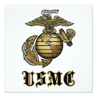 USMC 13 CM X 13 CM SQUARE INVITATION CARD