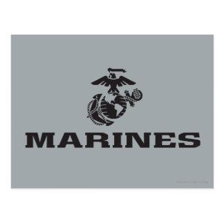 USMC Logo Stacked - Black Postcard