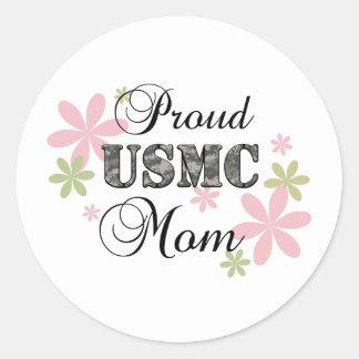 USMC Mom [fl camo] Classic Round Sticker
