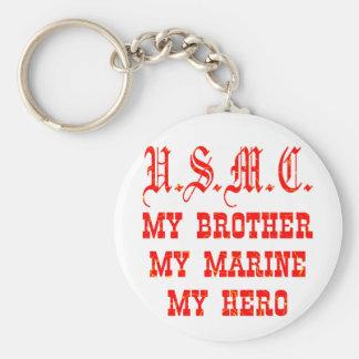 USMC My Brother My Marine My Hero Basic Round Button Key Ring