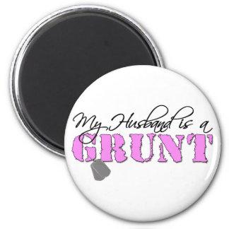 USMC My Husband is a Grunt 6 Cm Round Magnet