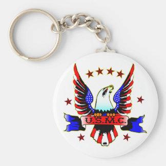 USMC Old School Red White & Blue Eagle Tattoo Basic Round Button Key Ring