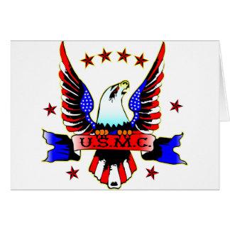USMC Old School Red White & Blue Eagle Tattoo Card