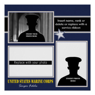 USMC Photo Display Collage Poster