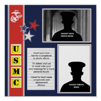 USMC Photo Scrapbook Collage Poster