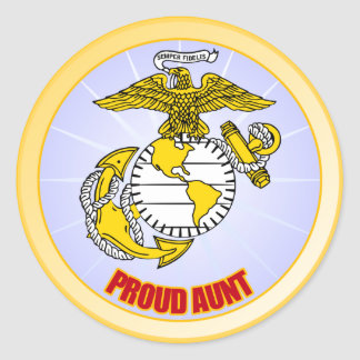 USMC Proud Aunt Round Sticker