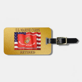 USMC Retired Luggage Tag w/ leather strap