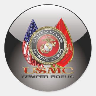 USMC Semper Fi [Special Edition] [3D] Classic Round Sticker