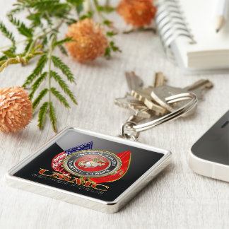 USMC Semper Fi [Special Edition] [3D] Silver-Colored Square Key Ring