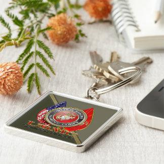 USMC Semper Fi [Special Edition] [3D] Silver-Colored Square Key Ring