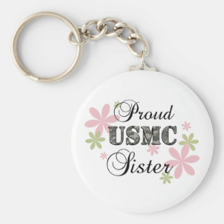 USMC Sister [fl camo] Basic Round Button Key Ring
