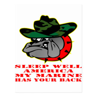 USMC Sleep Well America My Marine Has Your Back Postcard