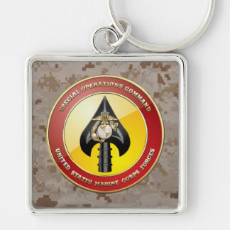 USMC Special Operations Command (MARSOC) [3D] Silver-Colored Square Key Ring