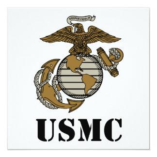 USMC [stencil] 13 Cm X 13 Cm Square Invitation Card