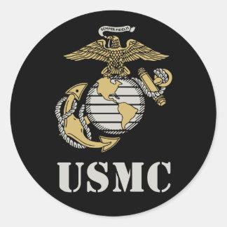 USMC [stencil] Classic Round Sticker