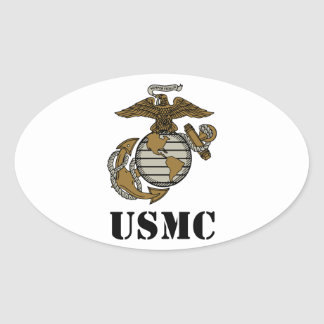 USMC [stencil] Oval Sticker