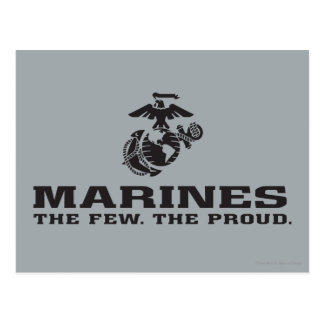 USMC The Few The Proud Logo Stacked - Black Postcard