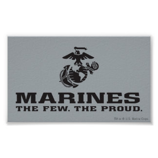 USMC The Few The Proud Logo Stacked - Black Poster