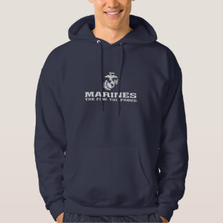 USMC The Few The Proud Logo Stacked - White Hoodie