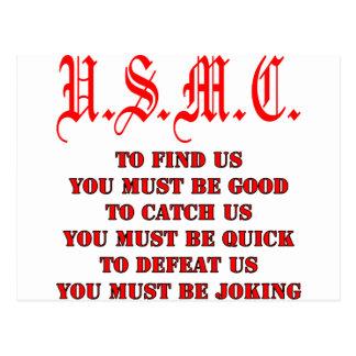 USMC To Find Catch or Defeat Us Postcard