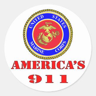 USMC United States Marine Corps America's 911 Classic Round Sticker