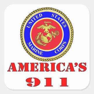 USMC United States Marine Corps America's 911 Square Sticker
