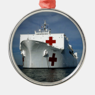USNS Mercy Hospital Ship Silver-Colored Round Decoration