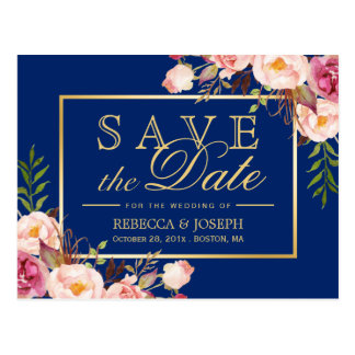 (USPS) Pink Floral Gold Navy Blue Save the Date Postcard