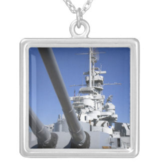 USS Alabama Battleship at Battleship Memorial Silver Plated Necklace