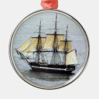 USS Constitution at Full Mask Christmas Ornament