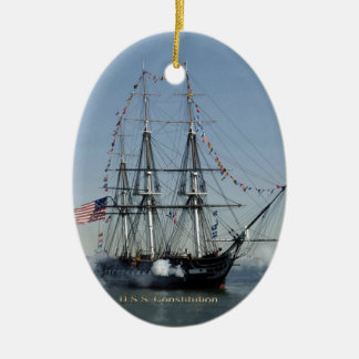USS Constitution Firing Cannons Christmas Ornament