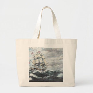 USS Constitution heads for HM Frigate Guerriere Large Tote Bag