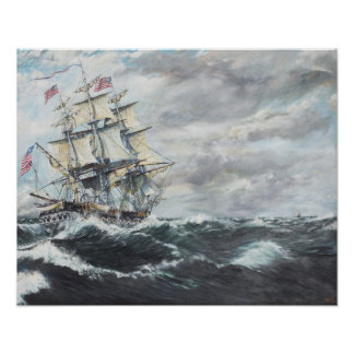 USS Constitution heads for HM Frigate Guerriere Poster