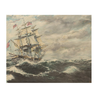 USS Constitution heads for HM Frigate Guerriere Wood Wall Art