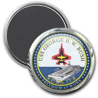 USS George H W Bush CVN-77 7.5 Cm Round Magnet