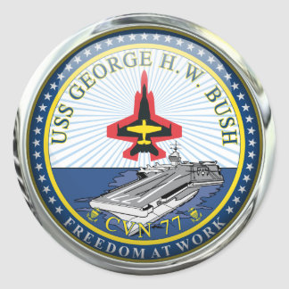 USS George H W Bush CVN-77 Classic Round Sticker
