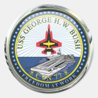 USS George H W Bush CVN-77 Round Sticker