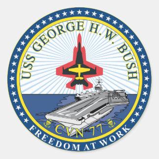 USS George H W Bush Round Sticker
