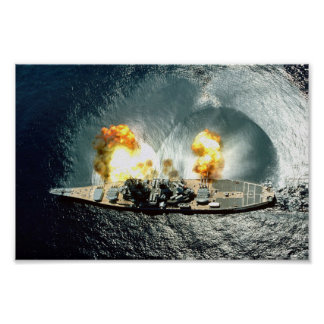 USS Iowa Firing A Full Broadside Poster