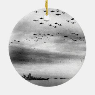 USS Missouri Flyover Surrender of Japan Round Ceramic Decoration