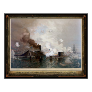 USS Monitor engaging the CSS Virginia - 1862 Poster