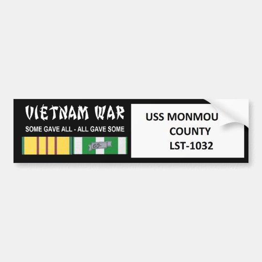 USS MONMOUTH COUNTY VIETNAM WAR VETERAN BUMPER STICKER