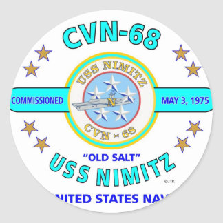 """USS NIMITZ CVN-68 """" OLD SALT"""" NAVY CARRIER ROUND STICKER"""