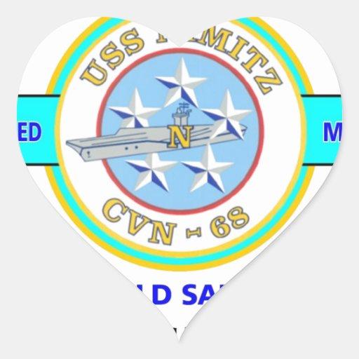 """USS NIMITZ CVN-68 """" OLD SALT"""" NAVY CARRIER HEART STICKER"""