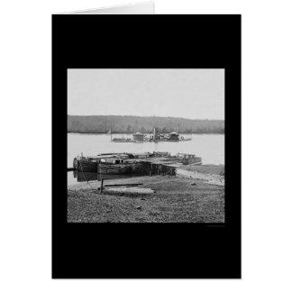 USS Onondaga on the James River, VA 1864 Card