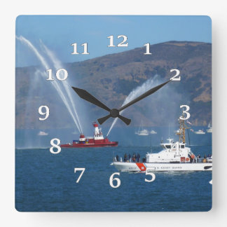 USS Phoenix and Coast Guard Cutter Sherman Square Wall Clock