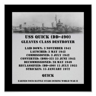 USS QUICK (DD-490) PRINT