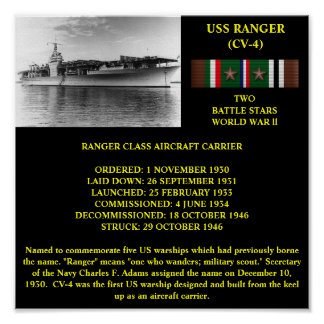USS RANGER (CV-4) POSTER