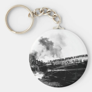 USS SANTA FE lays alongside of USS_War Image Basic Round Button Key Ring
