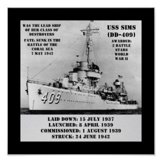 USS Sims (DD-409) Posters